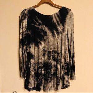By Together You and I black gray tie dye tunic S